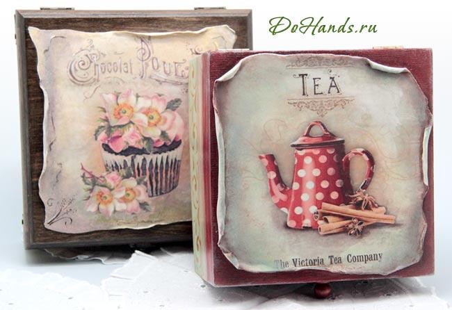 Короб для пакетиков чая - ручная работа